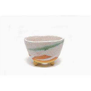Shigaraki - Round White /  Green /  Orange - 11.5 x H7.5 cm