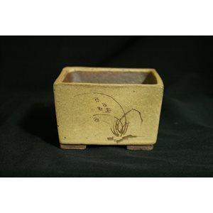 Tokoname Carré beige dessin 9.8 x 9.8 x H5.6 cm