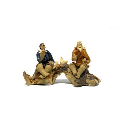 Sages (2) bleu / orange sur tronc 5'' x 2.75''H