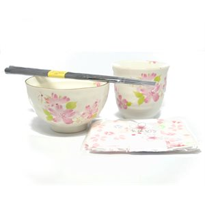 Hana Misato - 4 pcs set - Bowl /  Teacup /  Chops. /  Placemat