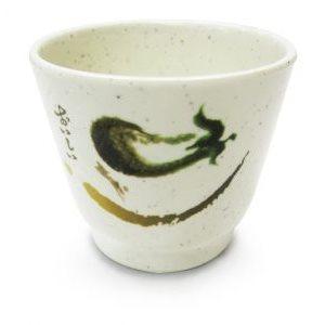 """Tasse à thé crème dessin vert 3"""""""